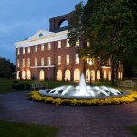 Exterior of Austin Hall with Fountain at Lake Erie College